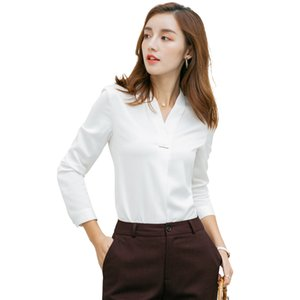 여성 블라우스 우아한상의 여성 긴 소매 오피스 레이디 작업복에 대한 Lenshin 새로운 직물 고품질 V 넥 셔츠