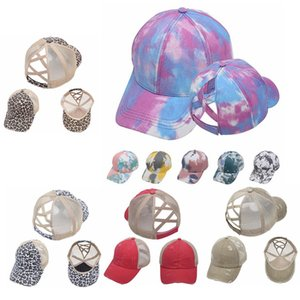 Wholesale Criss Cross Ponytail Baseball Hat Cotton Washed Mesh Back Leopard Camo Snapback Cap Outdoor Sports Visor Hats IIA400