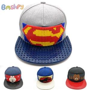 gp4I9 Korean fashion cap cap Building block hip-hop Children's hip-hop building block assembled Lego organization Big hat personalized stude