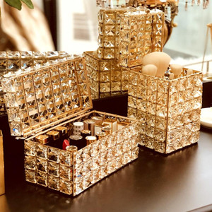 Crystal Lipstick Holder Makeup Organizer Necklace Dressing Table Makeup Brush Jewelry Pearl Storage Box Decor Ornaments Tray