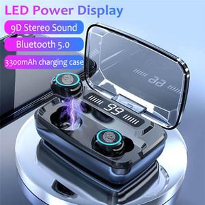 Nuevo M11 auriculares estéreo bajo TWS 5.0 Sport auriculares inalámbrico Bluetooth para auriculares Con 3300mAh LED Digital de carga Box