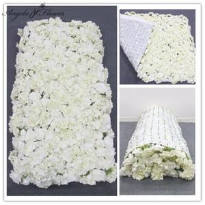 천으로 꽃 벽 인공 꽃꽂이 DIY 웨딩 배경 장식 수국 최대 3D 크리에이티브 롤 신부 전시 T200715 장미