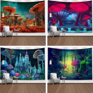 Space Mushroom Forest Castle Tapestry Fairytale Trippy Colorful Wall Hanging Tapestry for Home Deco Mandala