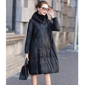 Genuine Leather Down Jacket Women's Brand Long Sheepskin Hooded Leather Outerwear Casual Medium Length Black Coat
