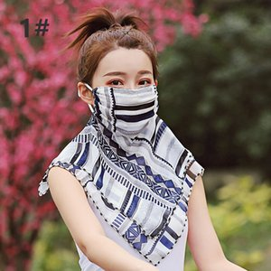 Bufanda para mujer de la gasa de Protección Solar Cara exterior de conducción de ciclo del envío sombrilla libre del cuello protector solar máscara de seda en línea AHE53
