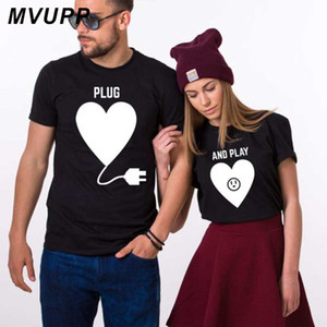 MVUPP Summer Couples Lovers T-Shirt For men and women White Tops Tee Love Heart Plug And Play Print Female Casual Cotton clothes