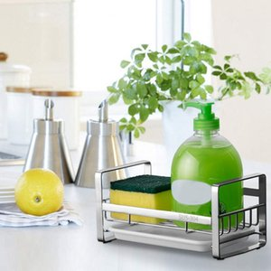 LBER Sponge Holder, Sponge and Soap Holder for Kitchen Sink, 304 Stainless Steel Kitchen Dish Soap Caddy Tray Organizer