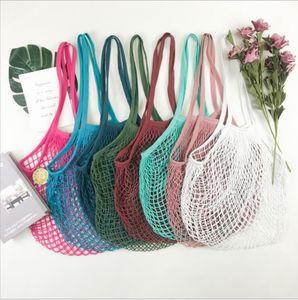 Shopping Bags Handbags Shopper Tote Mesh Net Woven Cotton Bags String Reusable Fruit Storage Bags Handbag Reusable Home Storage Bag LSKC244