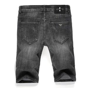 Jeans Verão cinco minutos solta shorts de perna reta esticar lavados calças de meia denim