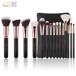 Docolor 15PCS Maquillage Pinceaux de teint en poudre Pinceau fard à paupières de chèvre synthétique Bristle cheveux cosmétique maquillage brosse avec sac 201007