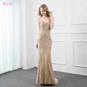 YQLNNE Sexy Spaghetti Mermaid Evening Dresses Long Nude Sleeveless Diamond Beaded Evening Gowns Y190710