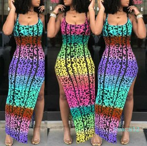 Fashion-2019 New Sexy Fashion Women Summer Spaghetti Strap Boho Long Maxi Dress Sexy Leopard Print Clubwear Beach side Split Sundress