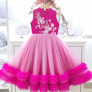Lace Beaded Cheap Flower Girl Dresses High Neck A-line Little Girl Wedding Dresses Cheap Communion Pageant Dresses Gowns F3215