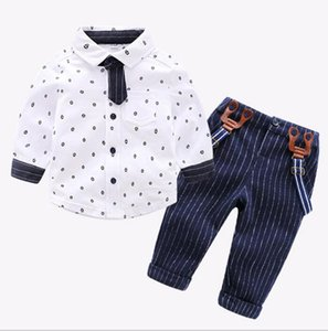 A new baby boy's shirt and strap suit gentleman cotton handsome gentleman's fashion dress size 80-110 years old