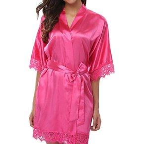 Women Sleepwear Fake Silk Robe Lace Design Vestidoes Solid Color Pajamas Dress