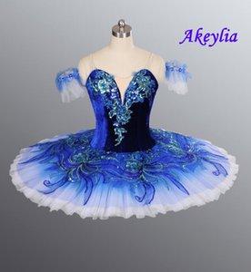 Azul royal Pássaro YAGP Profissional Ballet Competiton saia tutu Mulheres Rosa Classical Pancake Tutu traje vestido