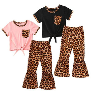 아기 디자이너 의류 여자 의류 아기 레오파드 탑 플레어 팬츠 의상 유아 짧은 소매 여름 T 셔츠 벨 바닥 정장 LSK509을 설정합니다