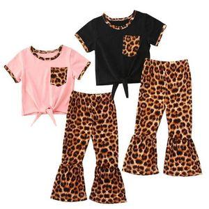Baby Designer Vêtements Girls Vêtements Ensembles Baby Leopard Top Flare Pantalons Tenue Toddler manches courtes Summer T-shirts Bell-bas costumes LSK509