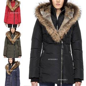 En kaliteli Ünlü Kış kürk ceket doudoune aşağı parka kadınlar Chaquetas Kanadalı ceket büyük kürk kapüşonlu Kanada kış ceket kürk aşağı
