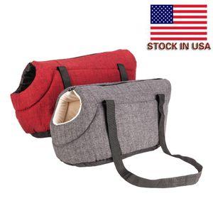 Convenient Pet Travel Handbag Outdoor Portable Pet Bag Rose Red Cotton Burlap Bag for Dog and Cat Pet Supplies