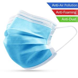 3-Ply Máscara Facial Máscara Set Per descartável Filtro 50pcs Cotton Esterilizado respirável e confortável com espessura não tecida Respirador