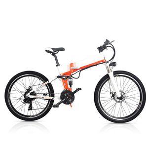 Aluminum Alloy Frame 26 Inch Folding Mountain E Bike 48V 10.4Ah LG Hidden Battery 250W 350W Electric Bicycle