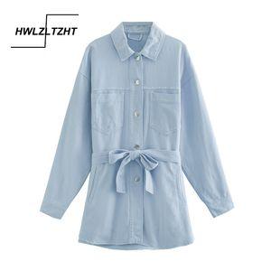 HWLZLTZHT Autumn Long Jeans Jacket Women Rivets Denim Jacket Single Breasted Belt Waist Coat Winter 2020 European Clothes