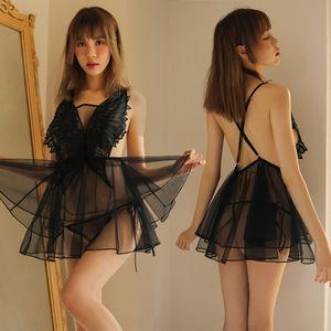 KIAFu nuevo ángel, ropa interior atractiva mariposa Pengpeng falda pijamas camisón de la ropa interior de malla juego atractivo de la tentación Pengpeng falda b
