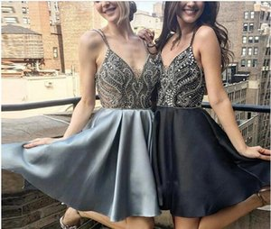 2020 new short Homecoming Dresses spaghetti Bridesmaid Dress mini sexy back evening dress with beading cheap