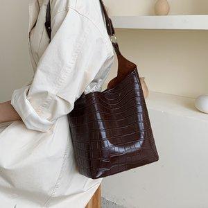 Patrón de la piedra de la PU de cuero para las mujeres Bucket el 2019 Solid color del hombro Messenger Bag Señora de viaje bolsos y monederos
