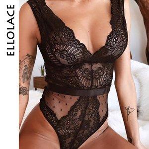 Ellolace Summer Lace Bodysuit Women Floral Embroidery Deep V Neck Sexy Bodysuit Dot Patchwork Jumpsuit Overalls 2019 Femlae Body T200714