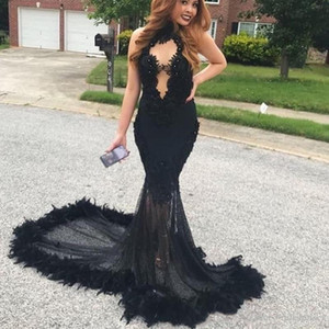 Sexy Black 2K19 Prom Dresses Halter Feather Lace Plus Size Black Girls Arabic Party Dresses Mermaid Evening Gowns