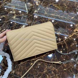 Echte Leder Umhängetasche Frauen Kaviar Handtasche Clutch Kartenhalter Kette der neue Ankunft