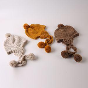 Cute Big Service Winter Детские Hat Pompom хлопок вязать Детские Hat Девочка мальчика товары