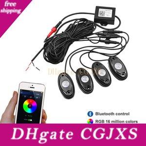 9W ad alta potenza mini Bluetooth 4 Pods Cree LED RGB Kit Roccia Luce per Under veicolo Autocarri Auto Suv Diy