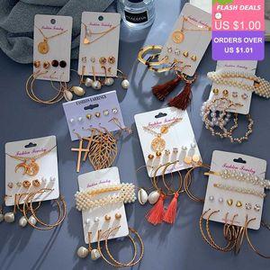 VKME New Bohemian Pearl Drop Earrings For Women Leather Case Tassel Pendant Earring Set 2020 Gold New Crystal Jewelry Gift