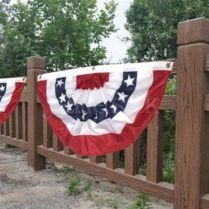 USA Pieghe semicerchio Fan bandiera americana Star and Stripes fibbia Occhiello di bandiera decorazione esterna americana giardino Bandiera 90 * 45cm DHB795
