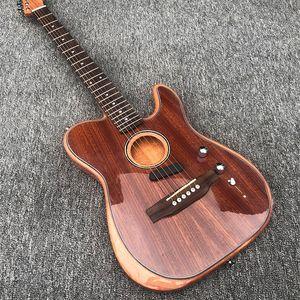 Venta directa de fábrica, de 6 cuerdas de la guitarra eléctrica, guitarra acústica de doble propósito guitarra, subió diapasón de madera, subió puente de madera,