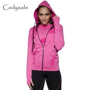 Wholesale- Codysale Jacket Women 2017 Casual Hooded Jackets Quick Dry Long-sleeved Sweatshirt Zipper Coat Fitness Outerwear Sportwear