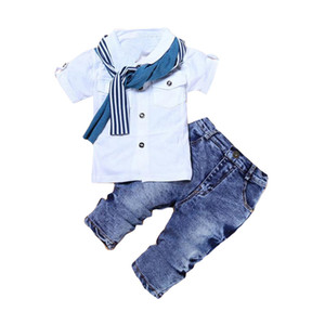 Spring Boys Clothing Sets Short T-shirt + Jeans+Scarf 3 pcs Baby Boys Clothes Kids Suit For 2-6 Years Old Kids Children Clothing
