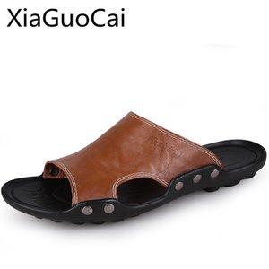 2020 Moda Couro Homens Sandals Sólidos EVA Verão Derme Chinelo Calçados Damping Deodorization antiderrapante Massage