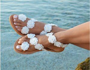 Bohemia Simplicidade Sandals Código Big Ladies Summer Fashion Fundo Plano Slipper Branca Flor Anti Desgaste sapatos portáteis Hot Sale 35qyI1