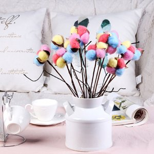 5pcs lot 35cm Dry Cotton Branch Natural Eternal Artificial FLower Heads Dried Cotton Bouquet For Home Party Office Desktop Decor