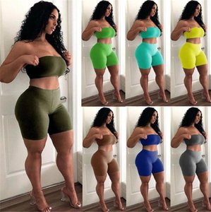 Women Ultra Stretchy Strapless Tracksuits Solid Color Skinny Two Piece Shorts Sexy Crop Top 2pcs Sportswear