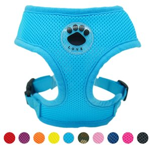 Rubber Adjustable Soft Breathable Dog Cat Control dog Harness Nylon Mesh Vest harness for Pet puppy collar Chest Strap