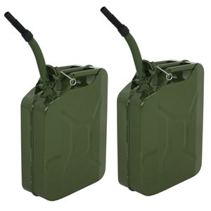 2pc 5 Gallon Jerry Can Fuel Steel Green Military Army Backup 20L Storage Tank