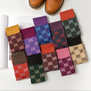 Hot autumn Girl new candy color letter pile heap female socks fashion trend multicolor wild cotton socks Wholesale FHN159