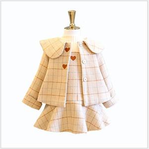 2020 New Hot Sale Girls Clothing Sets Autumn Winter Kids Woolen Coats+Dress 2pcs Set High Quality Girl Suit Children Outfits 2-9Years