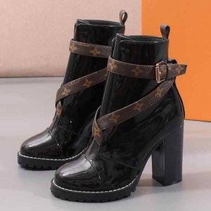 Heel High Heels shoes Women shoes Booties Leather Coarse Heel Boots Knee High Buckle Martin Boot Fashion Female Boots Large Size 35-42