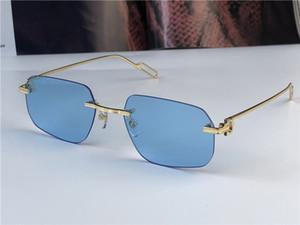 أزياء جديدة الجملة النظارات الشمسية 0113 عدسات صغيرة خفيفة غير منتظمة بدون إطار الرجعية الطليعي تصميم UV400 فاتح اللون UV400 النظارات